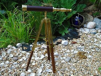 Film Prop-Shop Display Brass Table Top Telescope On Stand Antique Nautical