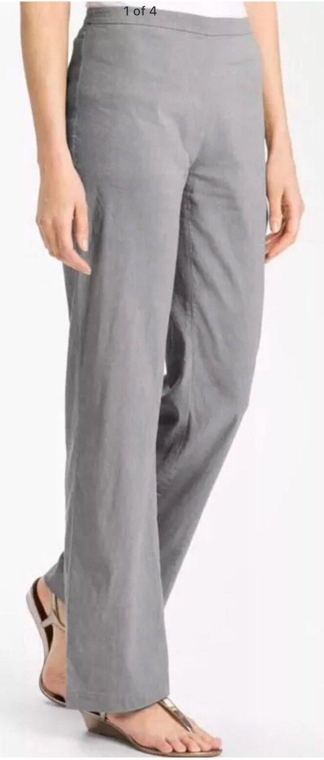 8 Nuevo con etiquetas  Eileen Fisher Estaño Lino viscosa estiramiento Recto Pantalones De Cremallera Lateral  Venta barata