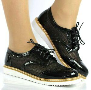 Debardeur-Femme-Plat-Talon-Bas-A-Lacets-Smart-Vintage-Oxford-Chaussures-Chaussures-Taille-3-8
