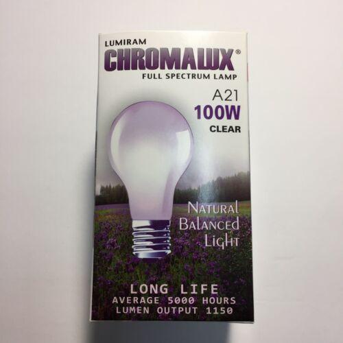 Full Spectrum Clear Light Chromalux Light Bulb 100W Bulb Dimmable 2 packs