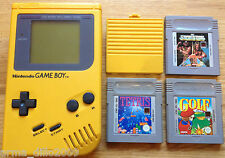 ORIGINAL YELLOW NINTENDO GAME BOY CONSOLE HANDHELD DMG-01 + 3 GAMES FULLY TESTED