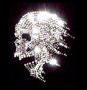 Motif à floquer Transfert strass thermocollant Skull  tête de mort