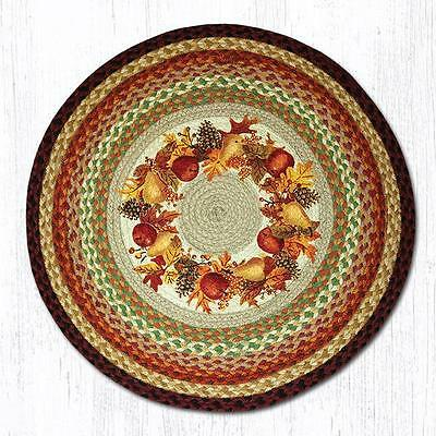 3 SIZES COUNTRY BRAIDED STENCILED OVAL AREA RUG By EARTH RUGS PINECONES