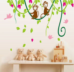 Monkey Swing Vignes Enfants Chambre Wall Art Autocollants / Stickers Muraux-ay9012-afficher Le Titre D'origine