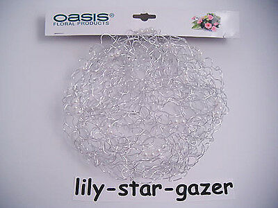 Oasis Silver 25cm Wire & Bead Bridal Bouquet Collar - Wedding Posy Holder Bling