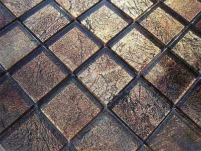 Glasmosaik Mosaik Fliesen Klarglas Metall Kastanie Dusche Sauna Bad HC004