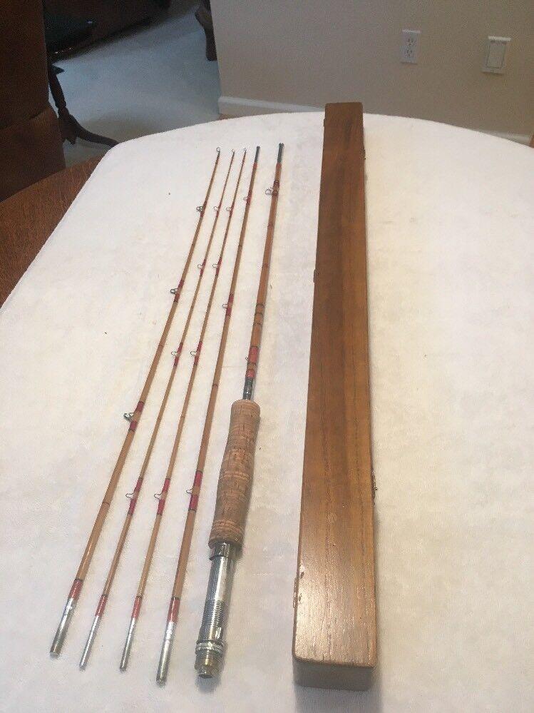 "Vtg Split Bamboo Fly Fishing Rod 5 Pieces, 8'9"" Long w Reversible Cork Handle."