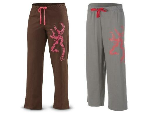 Womens BROWNING Scribble LOUNGE PANTS Pink Distressed Buckmark BROWN or CHARCOAL