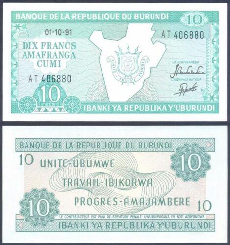 BURUNDI 10 Francs 1991 UNC Pick 33b 1991