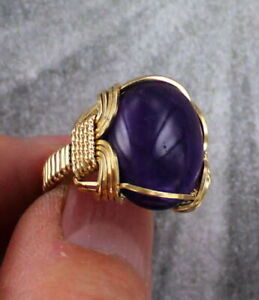 Amethyst-Gemstone-Ring-in-14kt-Rolled-Gold-Wire-Wrapped-Size-5-to-15
