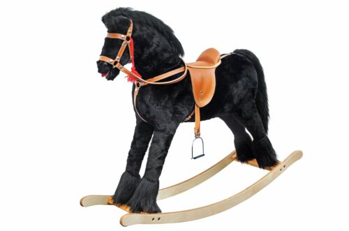 Grande Cavallo a Dondolo Nero Animale a Dondolo Spielzeugholzpferd Pony a 96-113