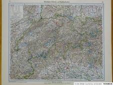 Landkarte Westalpen, Schweiz u. Nachbarländer, Bern, Mailand 1933