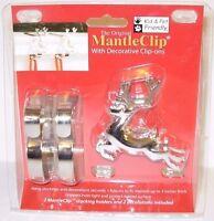 The Original Mantle Clip Set Of 2 Silver W/reindeer Decoration