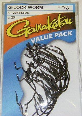 gamakatsu g-lock hook 3//0 value pack 204413-25 bass worm soft plastics 25 pr pak