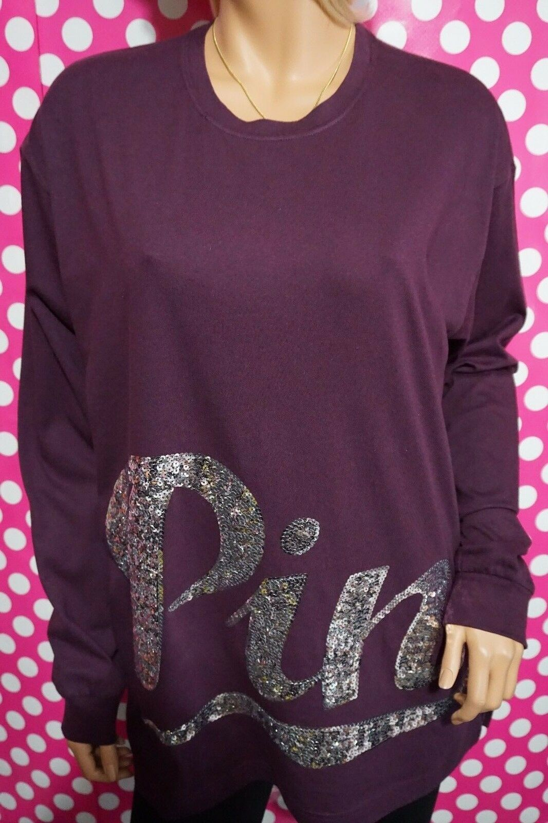 VICTORIA'S SECRET PINK BLING MAROON CAMPUS LONG SLEEVE T-SHIRT CREW XS S M