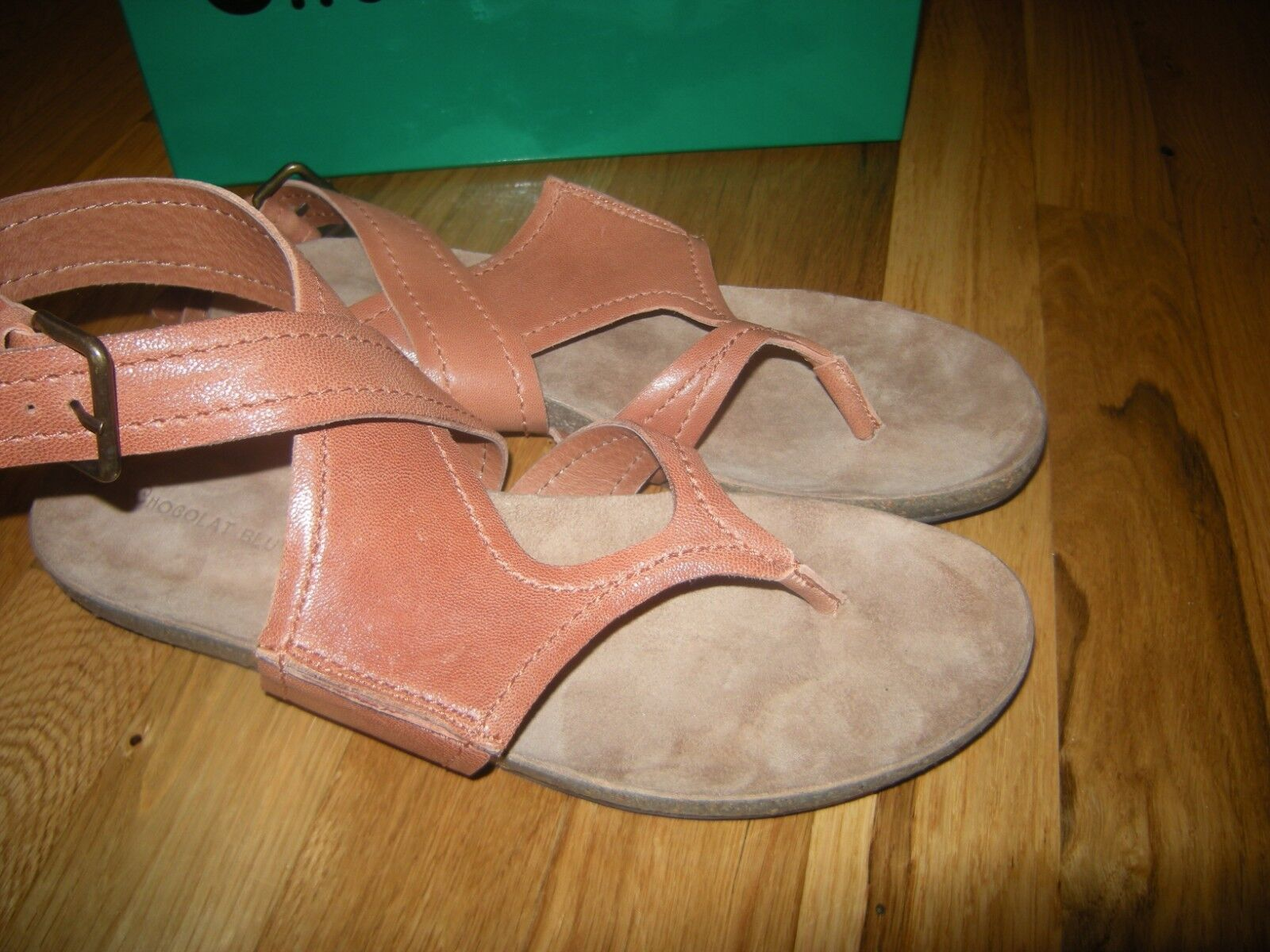 Brand New marron Camel Leather Chocolat bleu Yagger Sandals, Taille 9   9.5