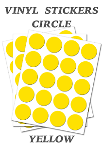 Self Adhesive Waterproof Vinyl Labels  size 15mm 100 Round Yellow Circles