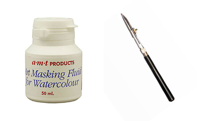 Artists Masking Fluid and Ruling Pen for Watercolour Painting