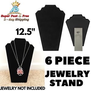 """Black Velvet Necklace Chain Easel 12.5/""""H Jewelry Display Stand Forms"""