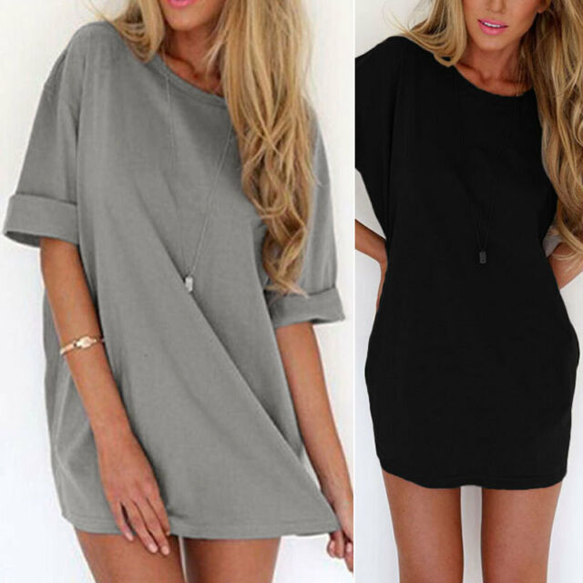 New Fashion Women Summer Half Sleeve Loose Tops Casual A-line Party Mini Dress