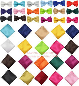 Men-039-s-Butterfly-Pre-tied-Bow-tie-and-Pocket-Square-Hanky-Set-Wedding-Party-Prom