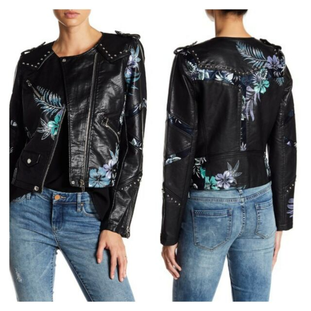 171d51a852b0 BLANK NYC New Womens Black Floral Studded Vegan Leather Moto Jacket Coat  Size S