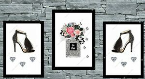Set-of-3-grey-amp-black-shoes-and-perfume-bottle-print-wall-art-fashion-home-deco