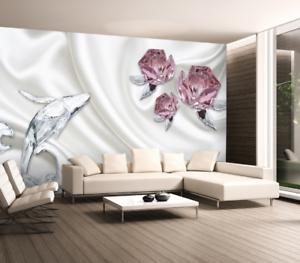 3D Kristall Delfin pink 754 Tapete Wandgemälde Tapete Tapeten Bild Familie DE