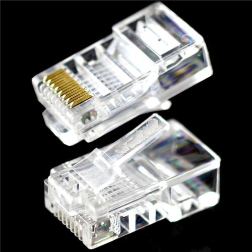 12Pcs Practical Internet Gold Plated Cable Modular Plug Adapter RJ45 8P8C CAT5E