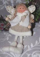Rustic Cute Fabric Angel Fairy Hanging Christmas Tree Decoration Beige & Cream