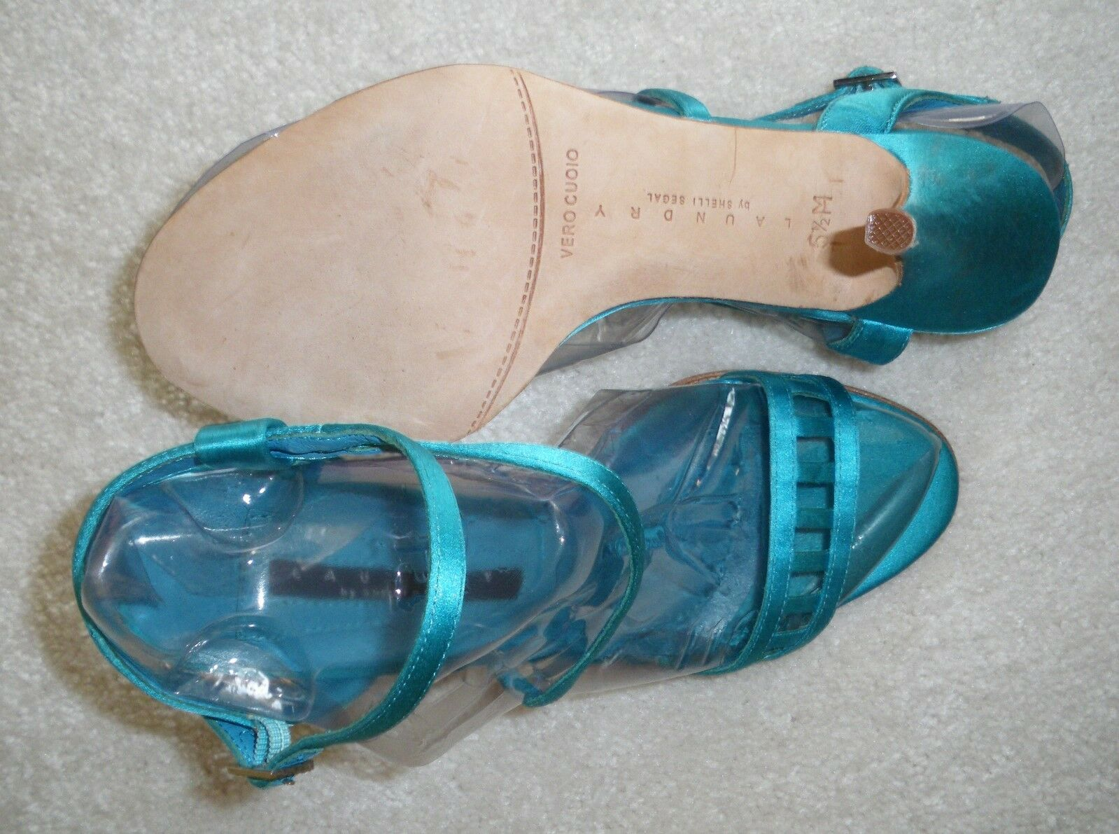 NEW ~ LAUNDRY  by SHELLI SEGAL 5.5  LAUNDRY 5 ½ M BLUE VERO CUOIO LEATHER SOLE HEEL SHOES 2c594b