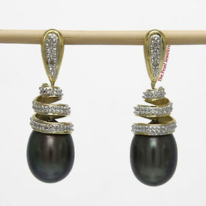 14k-Yellow-Gold-Sets-6-Sparkling-Diamonds-Black-Pearl-Dangle-Stud-Earrings-TPJ