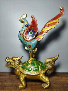 """13.2 """"Vieux chinois émail cloisonné cuivre Feng Shui dragon tortue coq statue"""