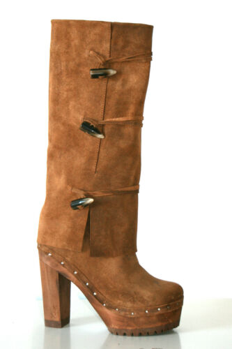 XUZ Ladies Brown Boots with Bone Buttons ! CLEARANCE !