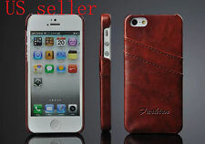 Luxury PU Leather Ultra Thin Credit Card Holder For iPhone 5 5S Back Cover Case