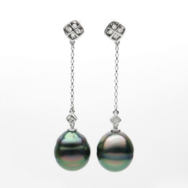 Green Real Tahitian Sea Pearl Diamond Drop Earrings Dangle 14k White Gold 12 8mm