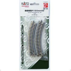 Kato-20-174-Unitrack-Compact-Rail-Courbe-Curve-Track-R150mm-45-4-pcs-N