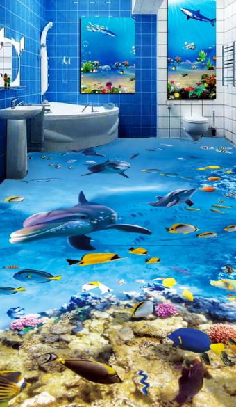 3D Lively Dolphin Sea 7 Floor Wall Paper Murals Wall Print AJ WALLPAPER UK Lemon