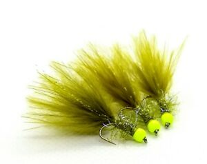 3 x Olive Damsel Marabou Fritz Trout Fly Lure Metallic Red Hot Head Size 12