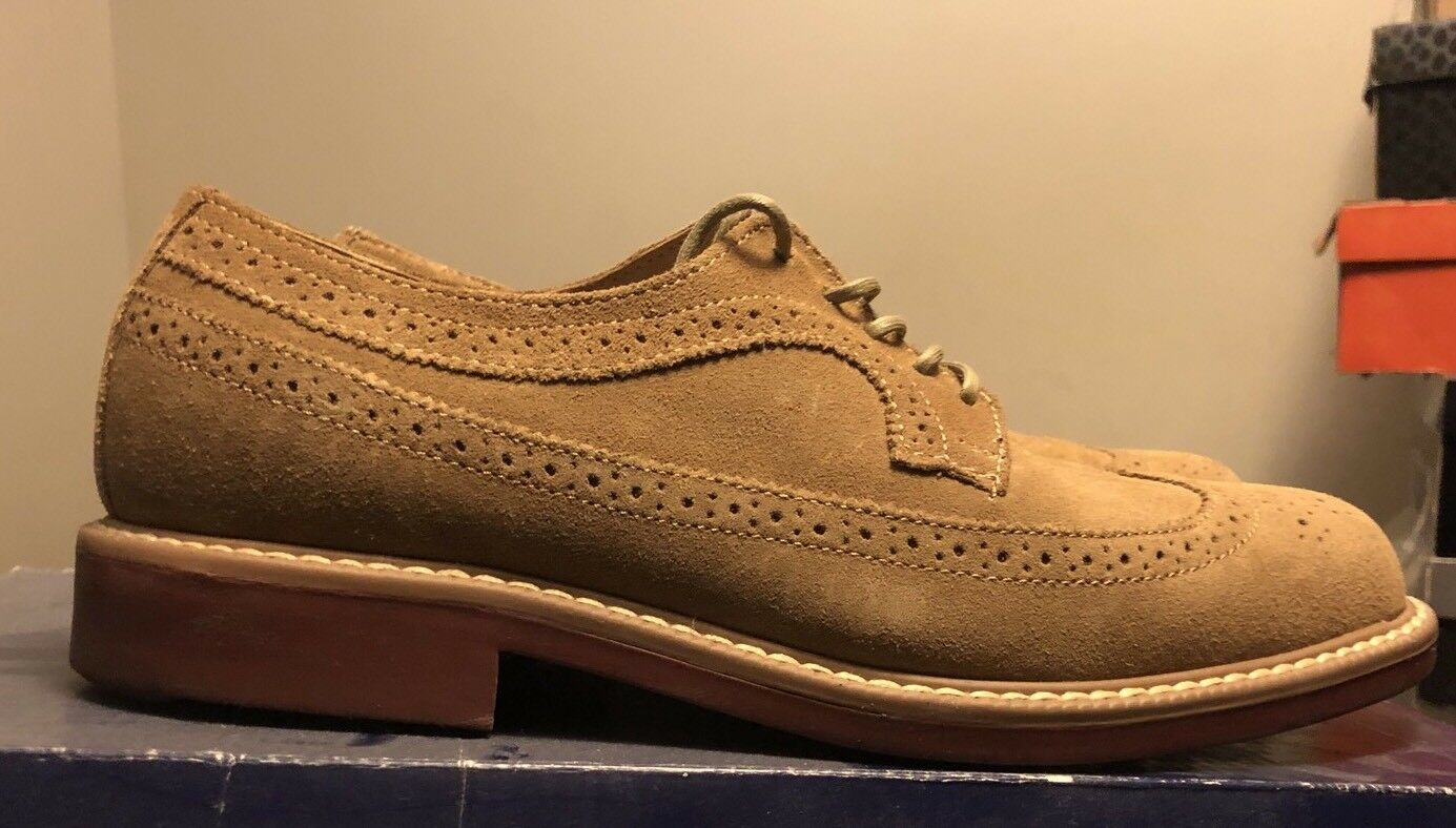 Bass Barrret Suede Wingtip Oxford Taupe shoes Sz 8.5