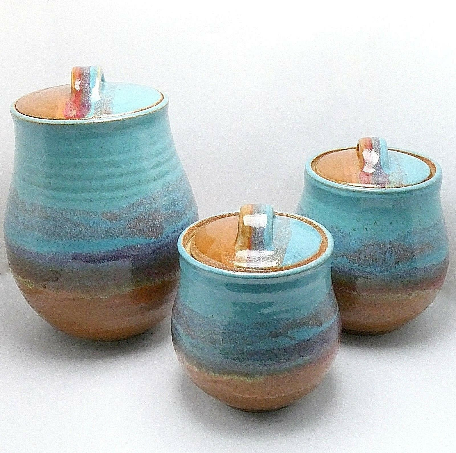 Handcrafted Studio Pottery Canister Set 6 Pc Turquoise-vert marron émail 8 -12 T