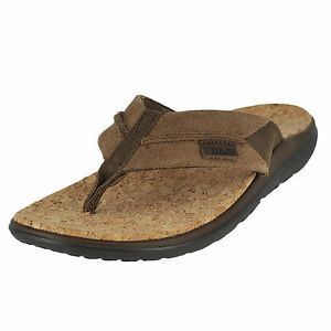 17cf7e249289 Teva Size 13 M Terra Float Flip Lux Dark Earth Leather Sandals Mens ...