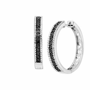1-ct-Black-amp-White-Diamond-Hoop-Earrings-in-Sterling-Silver