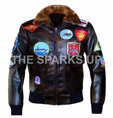 7 Patch Tom Cruise Pete Maverick Top Gun Bomber Jacket w Real Fur Trimmed Collar
