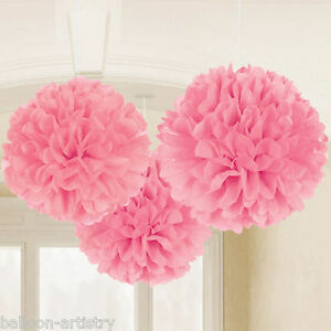3-Classic-Light-Pink-Birthday-Party-Hanging-Fluffy-Tissue-Paper-Ball-Decorations
