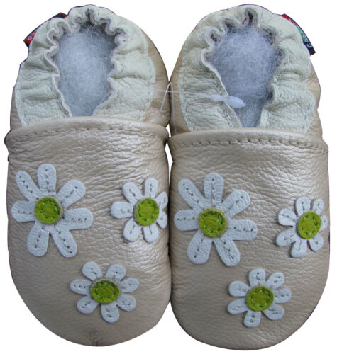 carozoo new soft leather baby shoes 3 flowers pearl 3-4y