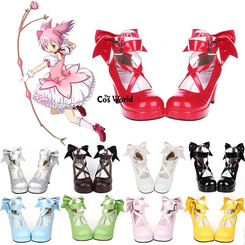 Puella Magi Kaname Madoka Magica Kaname Magi Lolita de salón con Plataforma Zapatos De Tacones Altos Cosplay f62b9f