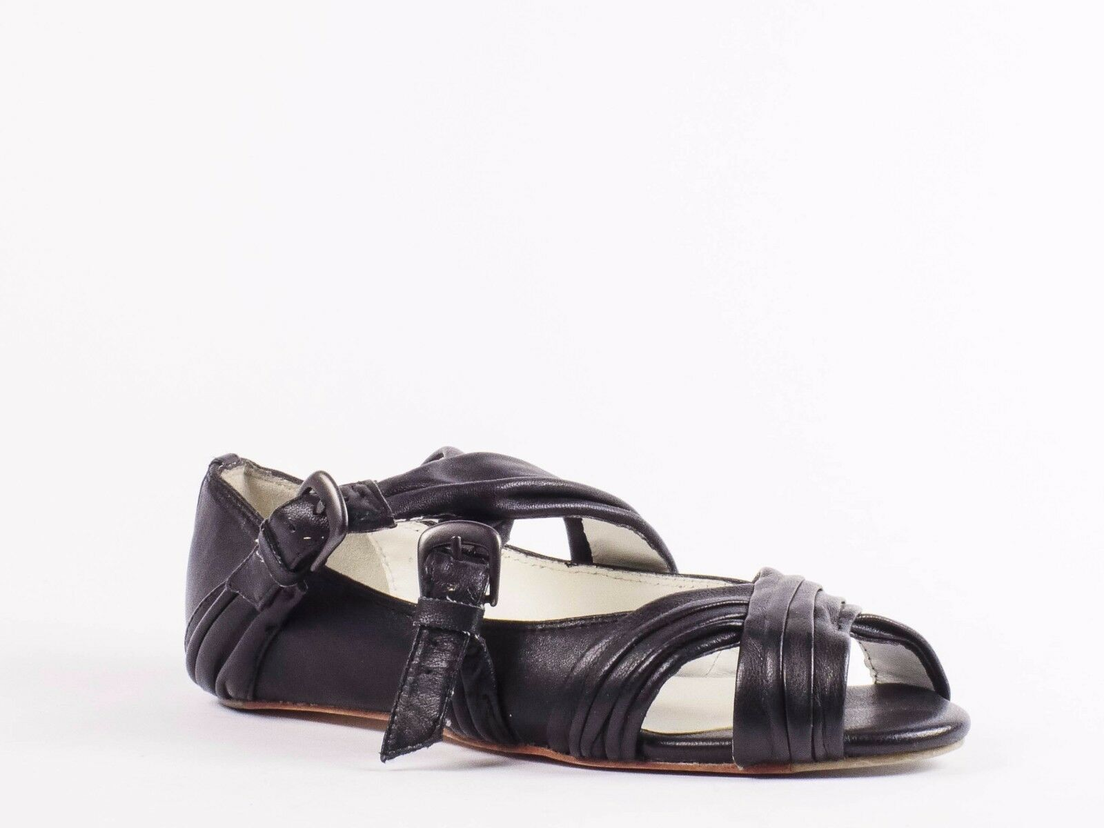 Joe's Jeans Swirl Ruched Strap Flat Black US Sz 6 M Leather Women's Sandal