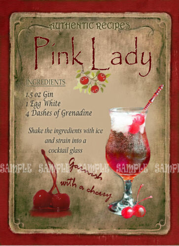 LOVELY GIFT HOME BAR:PUB:BAR:CAFE PINK LADY   COCKTAIL RECIPE METAL SIGN