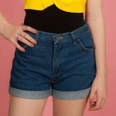 """Fornito Vintage Vita Alta Pantaloncini Di Jeans-turn Up Shorts Da Rustler 28"""" Girovita-mostra Il Titolo Originale"""